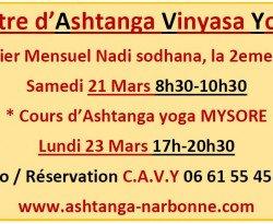 - Prochaines dates avec le Centre ashtanga vinyasa yoga
